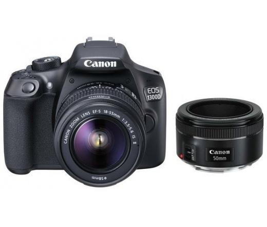 Canon EOS 1300D + EF-S 18-55mm IS II + 50mm f/1.8 STM Kit Black 1160C087AA