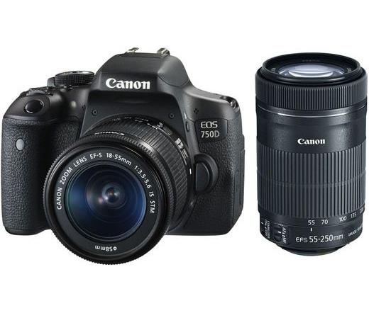 Canon EOS 750D + EF-S 18-55mm f/3.5-5.6 IS STM + EF-S 55-250mm f/4-5.6 IS STM Kit 0592C090AA