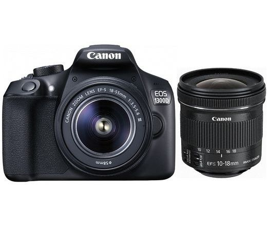 Canon EOS 1300D + EF-S 18-55mm DC III + 10-18mm IS STM kit Black 1160C153AA