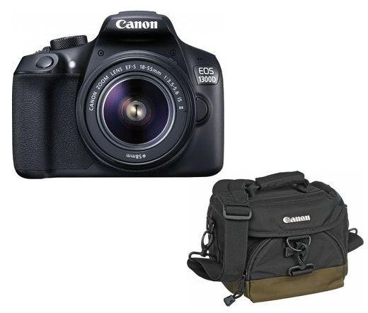 Canon EOS 1300D + EF-S 18-55mm f/3.5-5.6 IS II + 100EG táska + 8GB kit Black 1160C121AA