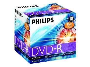 Philips DVD-R 4,7Gb 16x normal tok 10db/cs