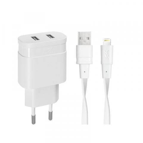 RivaCase Rivapower PS4125 WD2 wall charger white 3,4A/ 2USB, with MFi Lightning cable