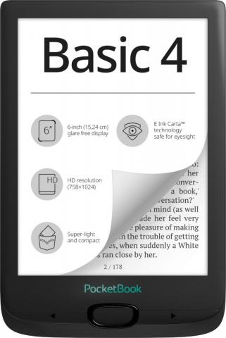 "PocketBook Basic 4 6"" e-book e-ink 8GB Black"
