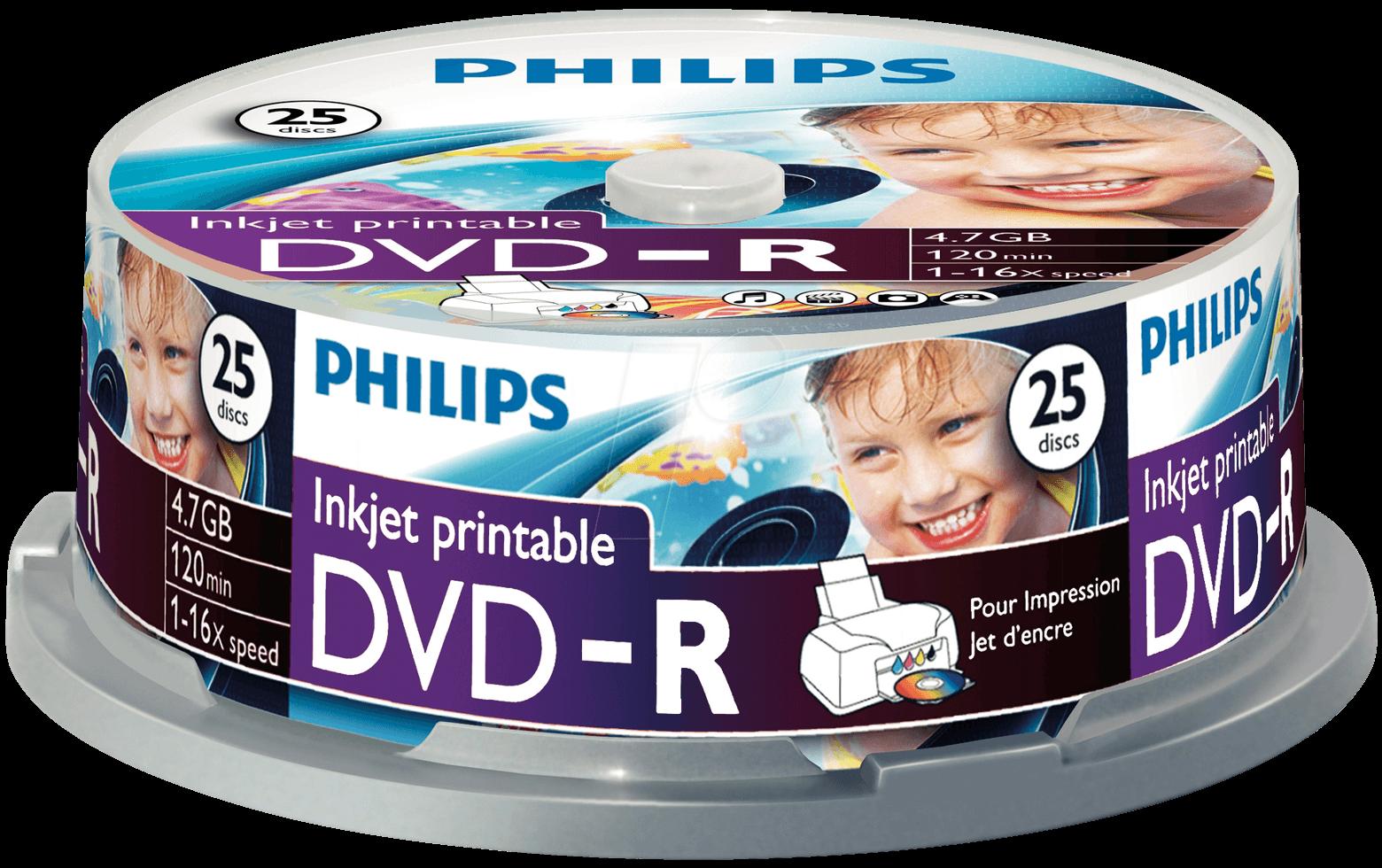 Philips DVD-R 4,7Gb 16x Hengeres 25db/csomag (5-ös címke)