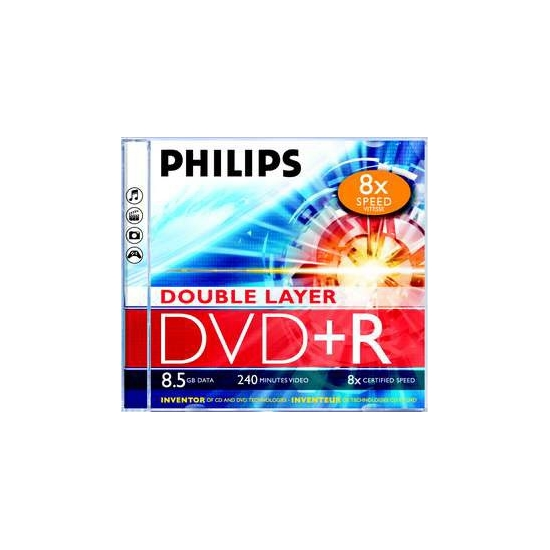 Philips DVD+R 8,5 Gb 8x kétrétegű normál tok (1-es címke)
