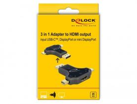 DeLock 3 in 1 Monitor Adapter with USB-C/DisplayPort/mini DisplayPort in to HDMI out with 4K 60Hz
