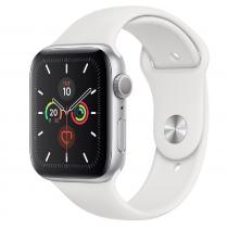 Apple Watch Series 5 GPS 44mm Silver Aluminum Case White Sport Band